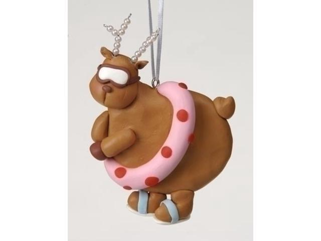 Swimming Chubby Diva Reindeer with Pearl Antlers Christmas Ornament #23108