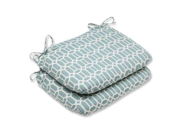 blue and white outdoor patio rounded chair cushions 18 5