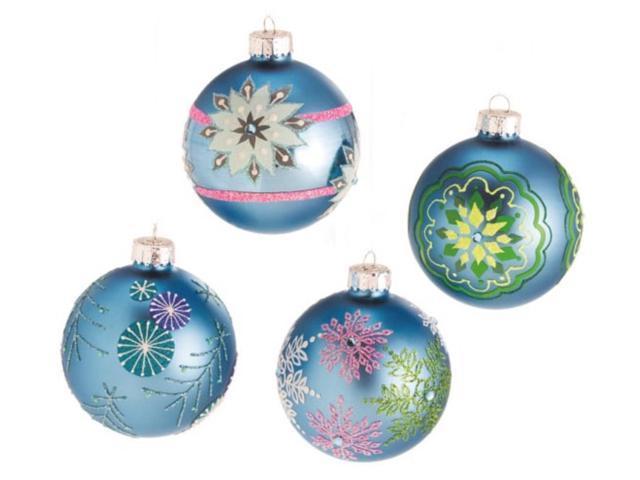Set of 4 Dazzling Blue Snowflake Design Glass Ball Christmas Ornaments 3
