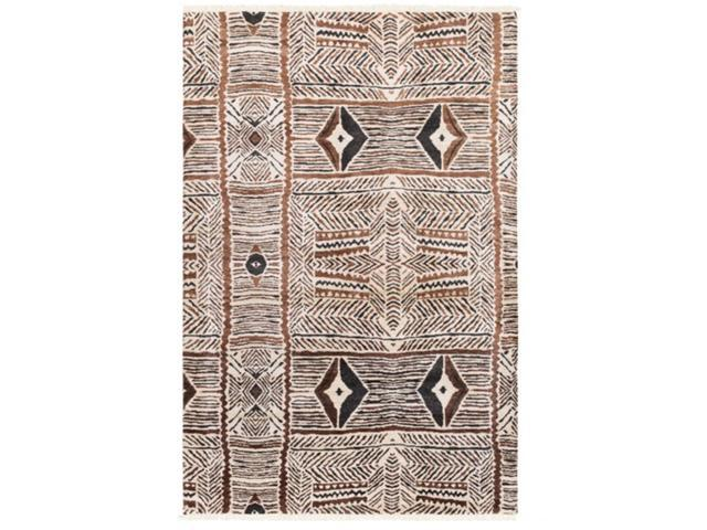 8' x 10' Thriving Native Navejo White, Earth Brown and Black  Hand Knotted Area Throw Rug