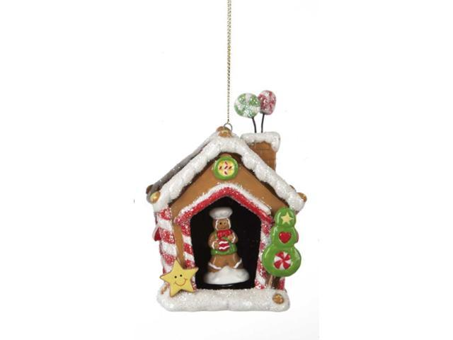 Gingerbread Kisses Porcelain House with Boy Cookie Christmas Ornament
