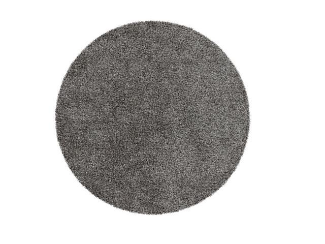 8' Plush Of Furry Elegance Dim Gray and Onyx Black Round Hand Tufted Area Throw Rug