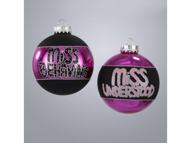 Set of 4 Fashion Avenue Miss Behaving Glass Ball Christmas Ornaments 3.25