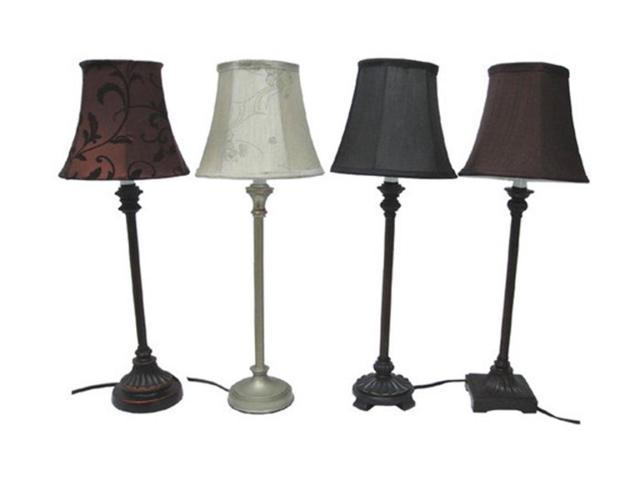 Set of 4 Sleek and Elegant Buffet Lamps with Color Coordinating Fabric Shades