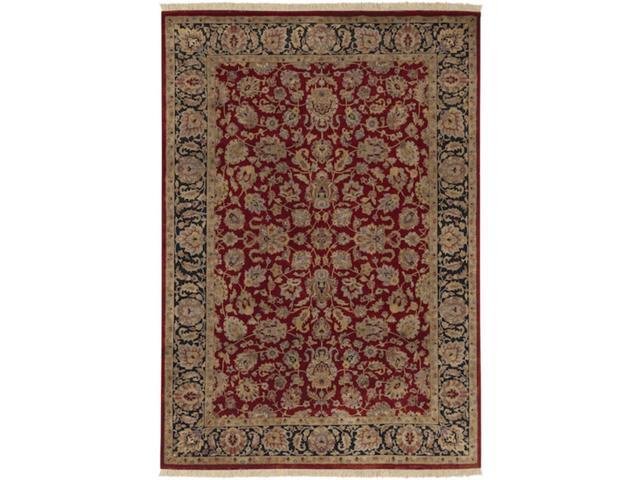 9.5' x 13.5' Oxford Burgundy and Coral Rectangular Wool Area Throw Rug