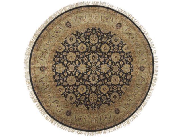 8' Moroccan Courtyard Black Auburn and Fawn Wool Round Area Throw Rug