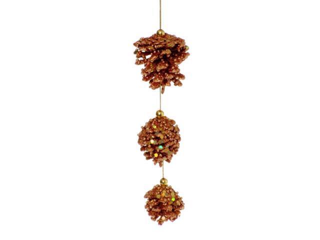 Glittered Copper 3- Pine Cone Dangle Christmas Ornament #2602566
