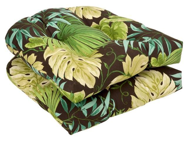 Pack of 2 Outdoor Furniture Wicker Chair Seat Cushions - Green Tropical