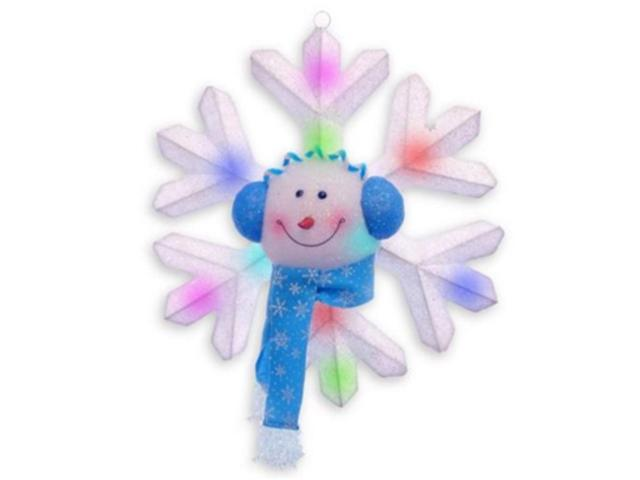 Battery Operated Lighted LED Snowman with Blue Scarf Snowflake Christmas Decor