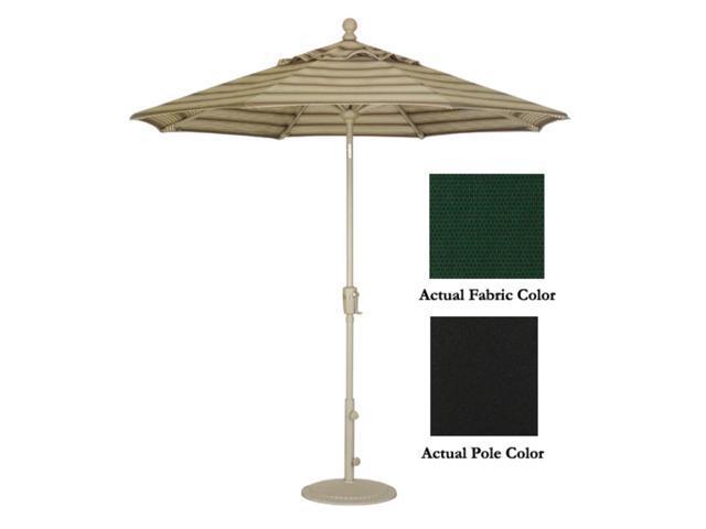 9' Crank Tilt Patio Market Umbrella - Black: Black Forest Green
