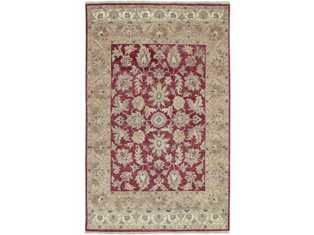 5.5' x 8.5' Yichang Brick Red, Pecan and Ivory Wool Rectangular Area Throw Rug