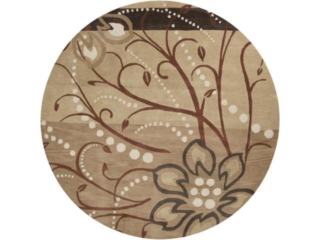 6' Cannonball Tree Golden Brown and Dark Khaki Wool Round Area Throw Rug