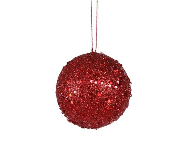 Fancy Red Hot Holographic Glitter Drenched Christmas Ball Ornament 3