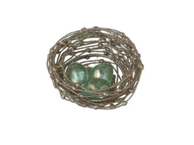 Sugared Fruit Glittered Bird's Nest with Glass Eggs Christmas Decoration 3.5