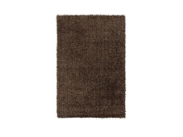 2' x 3' Plush Of Furry Elegance Dark Chocolate and Onyx Black Hand Tufted Area Throw Rug