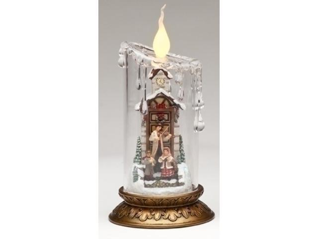 Bristol Falls LED Lighted Clear Pillar Victorian Christmas Candle with Carolers