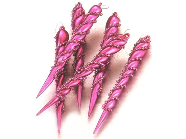 Set of 6 Fuschia Spiral Beaded Icicle Christmas Ornaments #856437