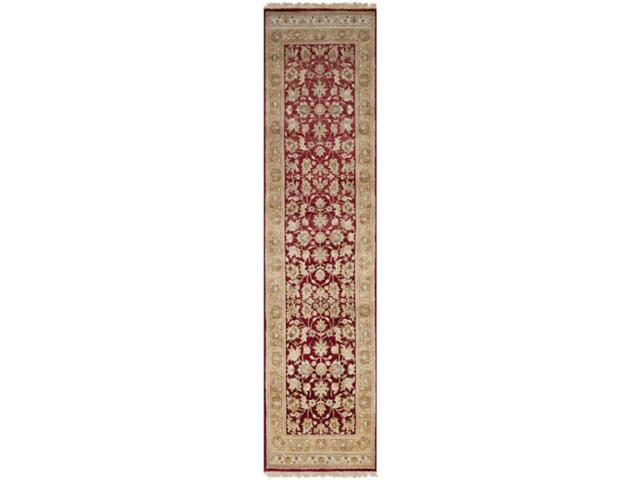2.5' x 10' Yichang Brick Red, Pecan and Ivory Wool Area Runner Throw Rug