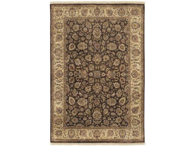 9.5' x 13.5' Aberdeen Dark Khaki and Caramel Rectangular Wool Area Throw Rug