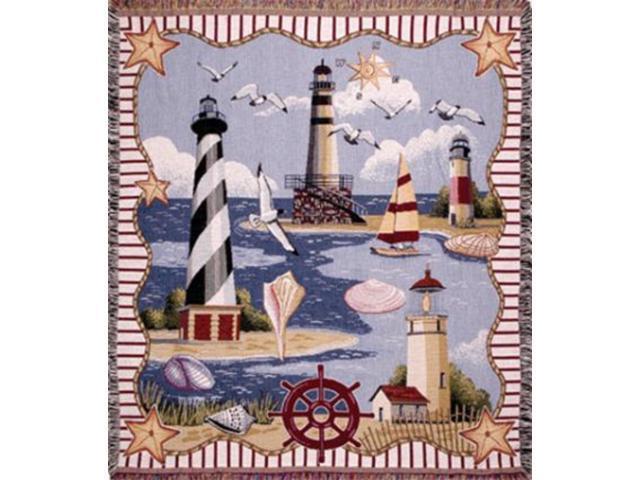 Coastal Memories Lighthouses Seashells Birds Tapestry Throw Blanket 50