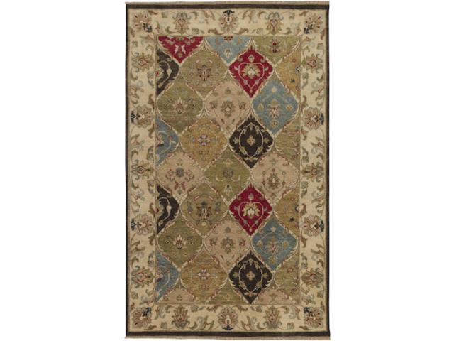 2' x 3' Quilted Floral Tea Leaves and Maroon Rectangular Wool Area Throw Rug