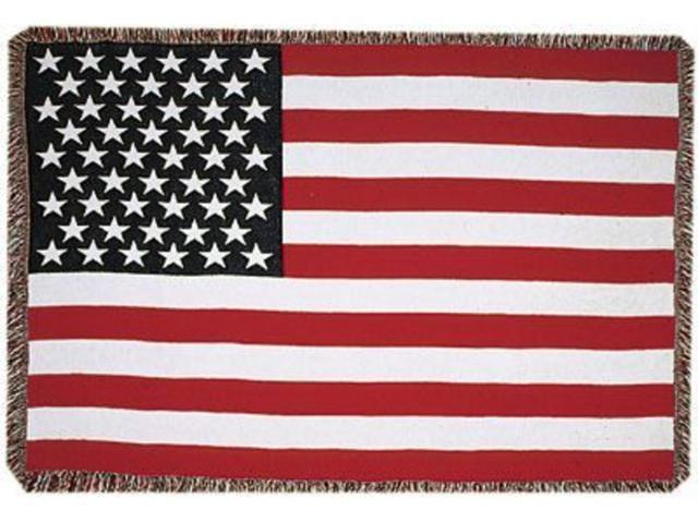 United States American Flag 3 Layer Afghan Throw Blanket 50