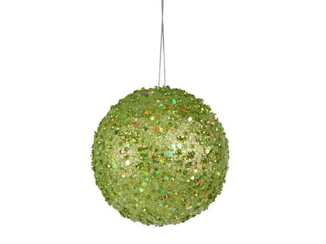 Fancy Green Apple Holographic Glitter Drenched Christmas Ball Ornament 3