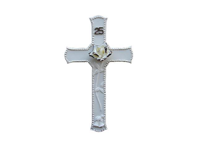 25th Silver Wedding Anniversary Porcelain Religious Wall Cross #60857