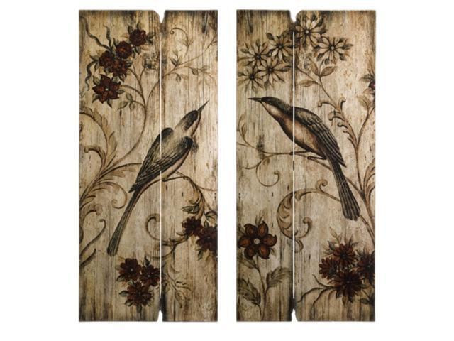 Set of 2 Country Chic Bird and Floral Earth Tone Wall Panels 40