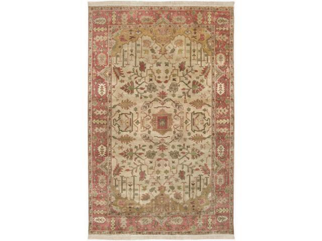 3.75' x 5.75' Karisik Burnt Sienna & Safari Tan Rectangular Wool Area Throw Rug