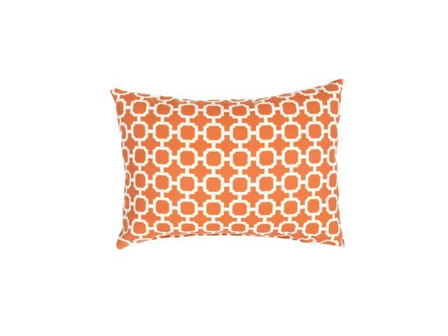 18'' Tiger Orange, & Ivory Geometric Pattern Decorative Throw Pillow