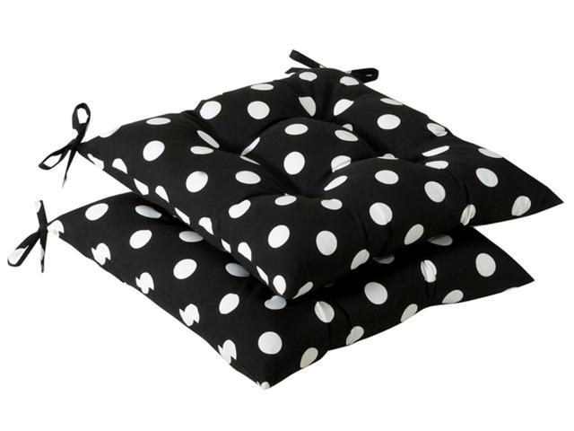 Pack of 2 Outdoor Patio Tufted Chair Seat Cushions - Black & White Polka Dot