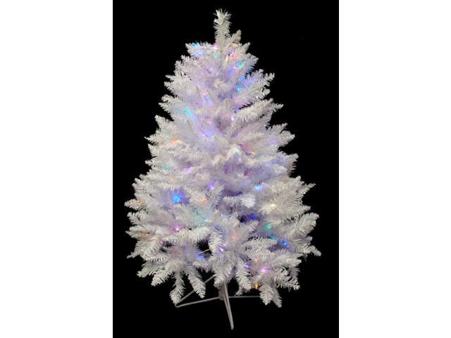 4.5' Pre-Lit White Sparkle Spruce Artificial Christmas Tree - LED Mutli Lights
