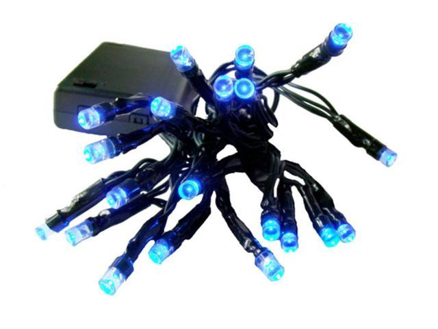 Set of 20 Battery Operated Blue LED Wide Angle Christmas Lights - Green Wire