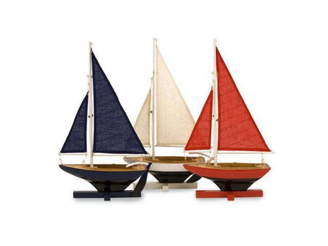 Set of 3 Wooden Nautical Decorative Patriotic Sailboats - 16