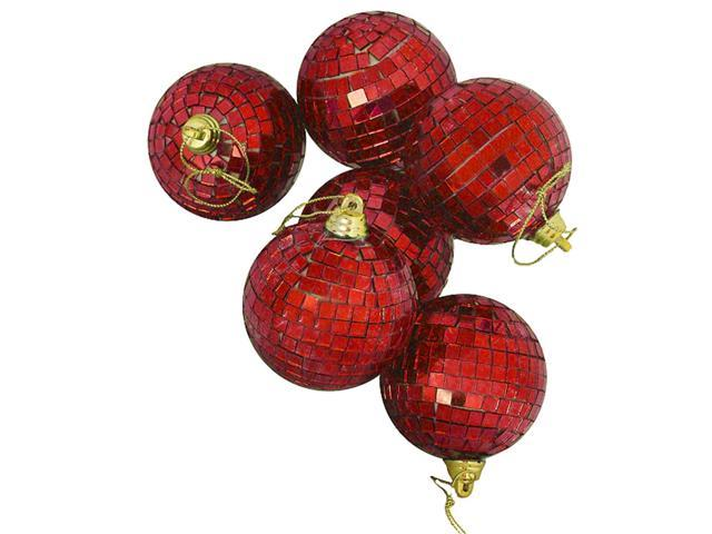 Pack of 6 Lust Red Mirrored Glass Disco Ball Christmas Ornaments 2.75