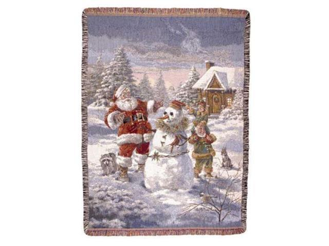Santa Claus & Elves Christmas Holiday Tapestry Throw Blanket 50