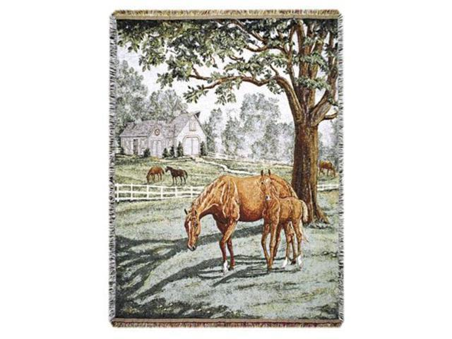 Lazy Meadow Horse Pictorial Tapestry Throw 50