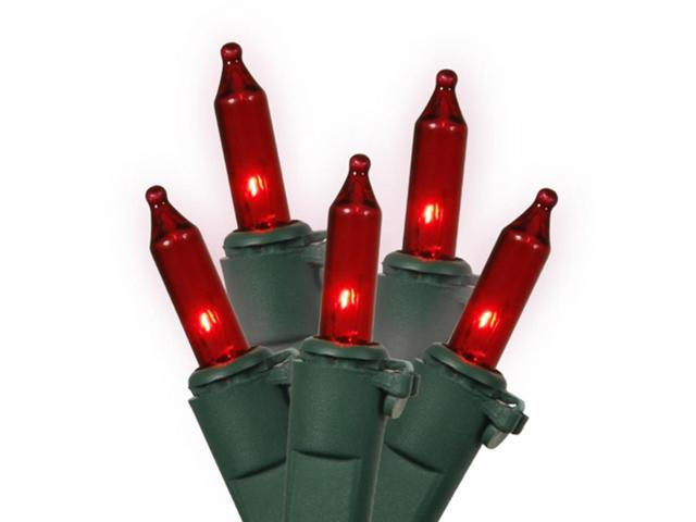 Set of 35 Red Mini Christmas Lights - Green Wire