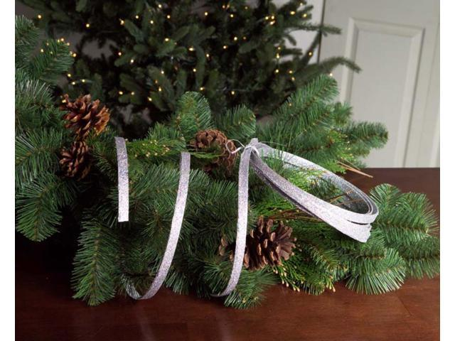 Pack of 12 Spools Richest Winter Silver Glitter Christmas Ribbon 15'