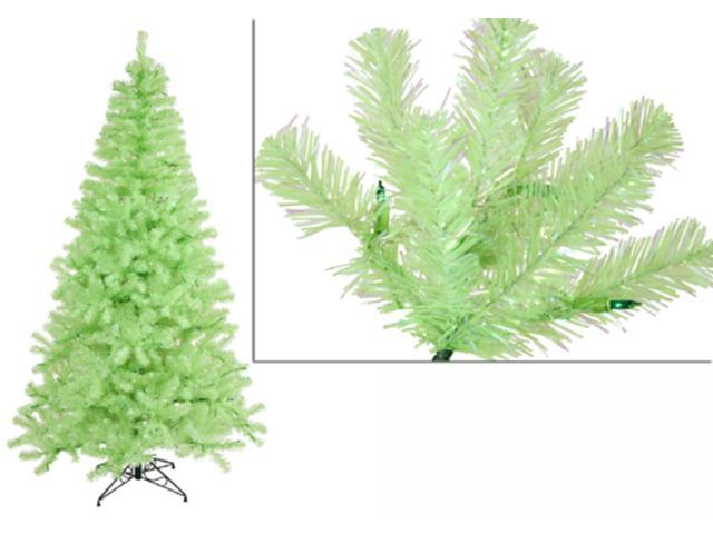 7' Pre-Lit Chartreuse Artificial Sparkling Christmas Tree - Green Lights