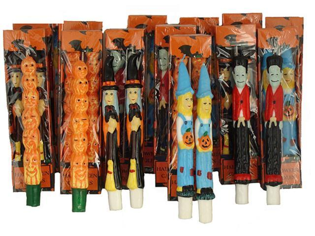Pack of 144 Halloween Witch, Scarecrow, Pumpkin and Frankenstein Taper Candles