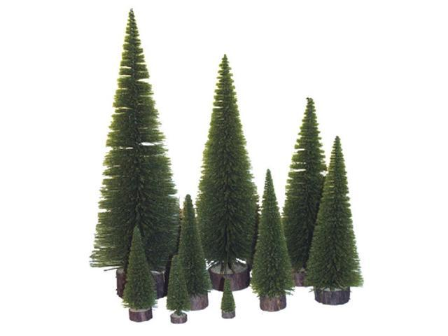 Pack of 6 Moss Green Artificial Village Christmas Trees 13