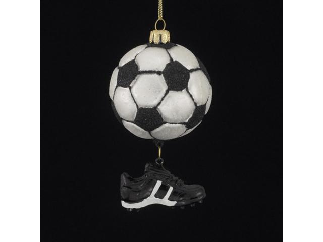 Club Pack of 12 Soccer Ball & Shoe Hand Blown Glass Christmas Ornaments 3.5