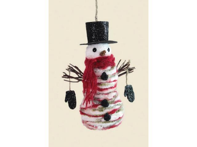 Pack of 4 Glittered Red and White Yarn Snowmen Christmas Ornaments 8