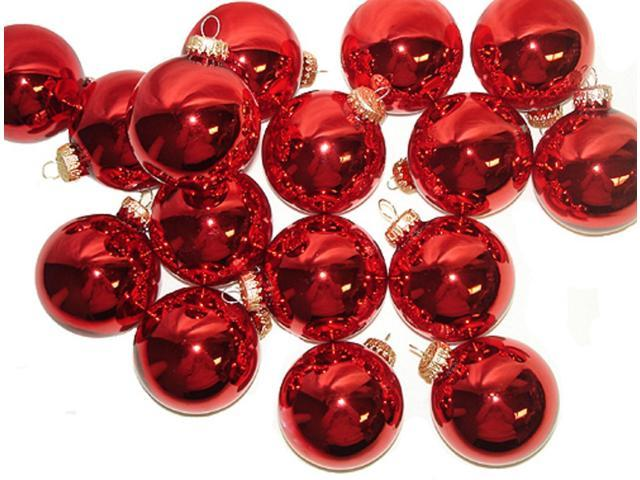 Club Pack of 36 Shiny Red Glass Ball Christmas Ornaments 2.5