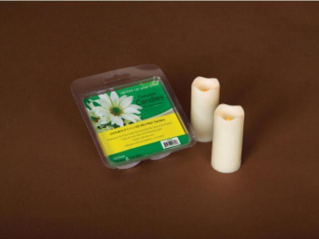 Pack of 12 Ivory Flameless LED Mini Christmas Pillar Candles w/Timers 3