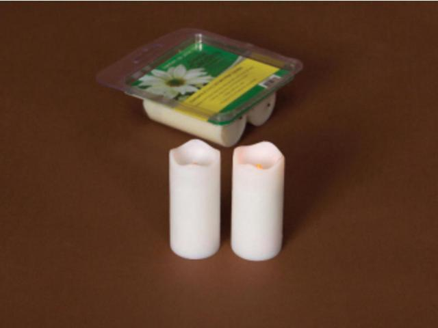 Pack of 12 White Flameless LED Mini Christmas Pillar Candles w/Timers 3