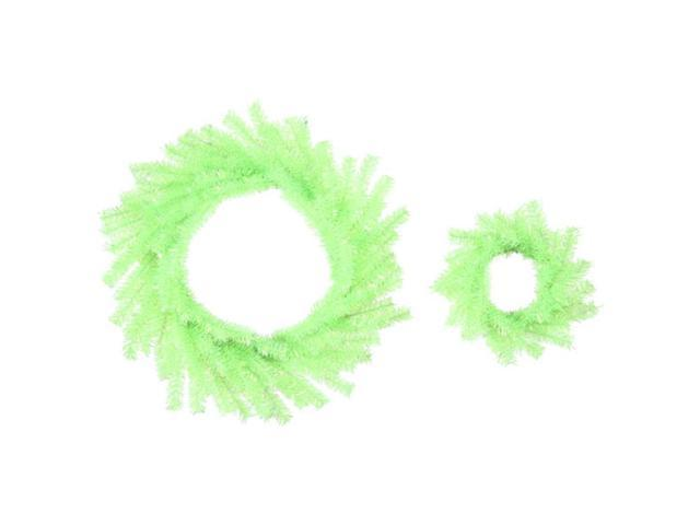Pack of 6 Sparkling Chartreuse Tinsel Artificial Christmas Wreaths - 10