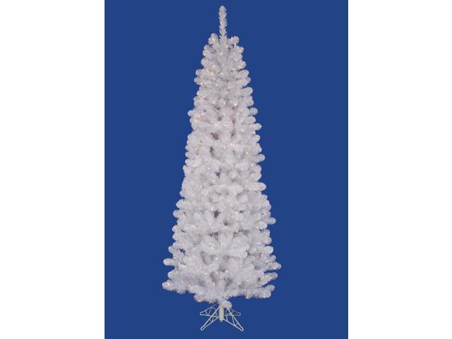 5.5' Pre-Lit White Salem Pine Pencil Christmas Tree - Clear Dura Lights